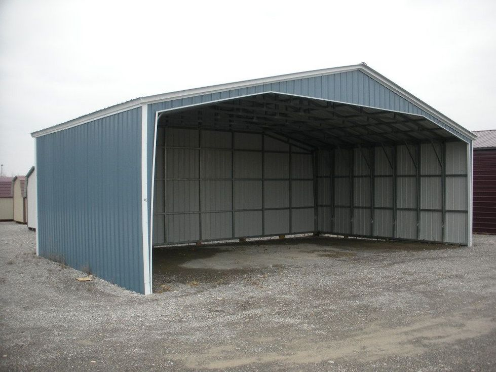 Storage shed storage sheds nappanee indiana for Metal garage pics